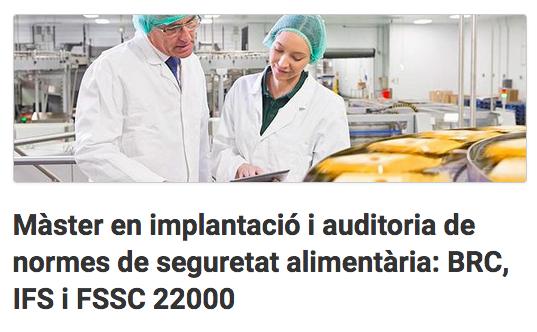 Màster Seguretat Alimentària BRC 22000